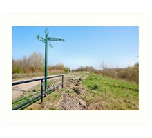 SIGNPOST ON THE CANALSIDE. Art Print