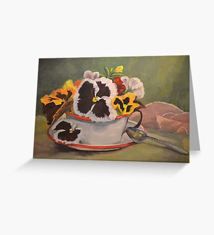 Tin Cup Pansy Tea Greeting Card