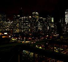 New York Lights from Brooklyn Bridge by Noleen  Kavanagh