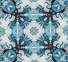Baroque Blue Rosette- r98 by Heidivaught