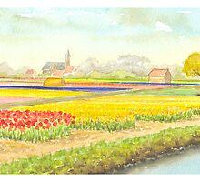 TULIP FIELDS IN VOGELENZANG - AQUAREL by RainbowArt