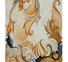 Yellow Black Art nouveau floral scroll by Heidivaught