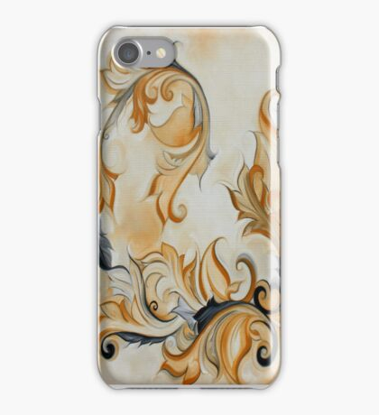 Yellow Black Art nouveau floral scroll iPhone Case/Skin