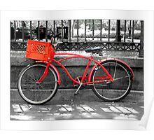 """Red Bike""  Jackson Square New Orleans Poster"