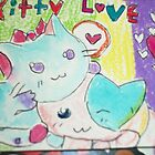 cute kitty blue purple pink by passsionflower7
