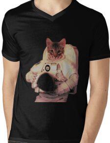 Cat Astronaut Mens V-Neck T-Shirt