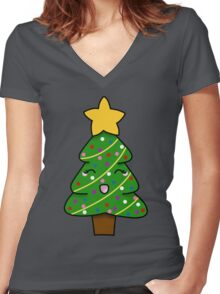 Cute xmas tree Women's Fitted V-Neck T-Shirt