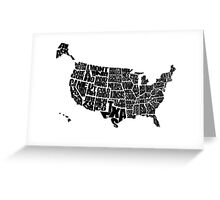 USA Text Map Greeting Card