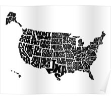 USA Text Map Poster