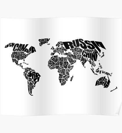 World Text Map Poster