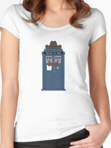 Doctor Who cowboy stetson hat TARDIS eleventh doctor  Women's Fitted Scoop T-Shirt