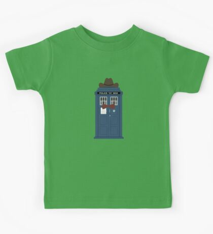 Doctor Who cowboy stetson hat TARDIS eleventh doctor  Kids Tee