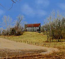 Barn Blue Skies and Brown Fields by ken2086