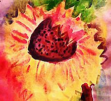 The loose style sunflower, watercolor by Anna  Lewis