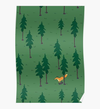 Fox in the woods. Poster