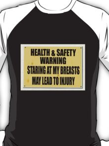 Health and Safety gone mad, staring at my breasts may lead to injury. T-Shirt