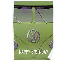 "VW Kombi ""Happy Birthday"" Card Poster"