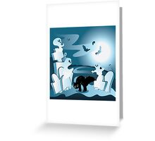 Cartoon Cemetery with Ghosts Greeting Card