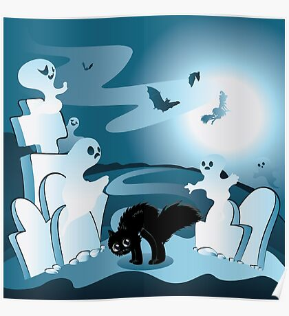 Cartoon Cemetery with Ghosts Poster