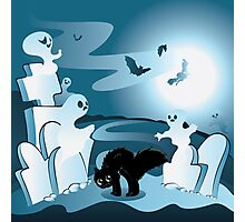 Cartoon Cemetery with Ghosts Photographic Print