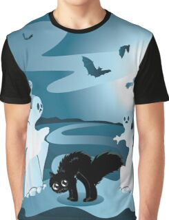 Cartoon Cemetery with Ghosts Graphic T-Shirt