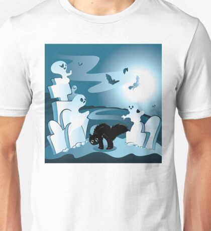 Cartoon Cemetery with Ghosts Unisex T-Shirt