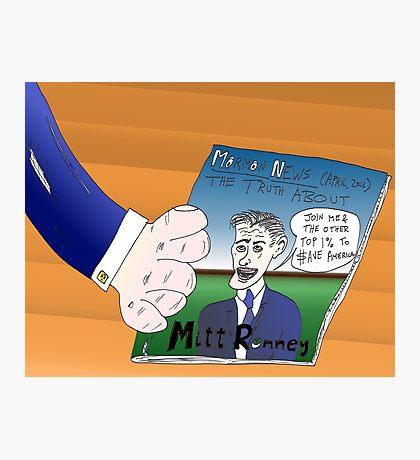 Binary Options News Caricature Mitt Romney Photographic Print
