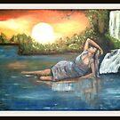 ragazza nel mare oil original inedito by antonio cariola