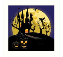 Haunted Halloween Castle Art Print