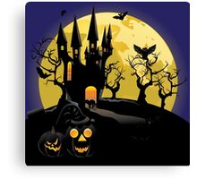 Haunted Halloween Castle Canvas Print