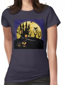 Haunted Halloween Castle Womens Fitted T-Shirt