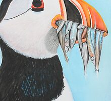 Original watercolour painting The hungry puffin bird with fish by Maralin Cottenham