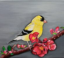 Original acrylic on canvas American Goldfinch on branch painting by Maralin Cottenham