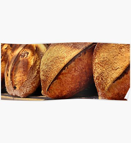 Freshly baked loaves of bread at a bakery. Poster