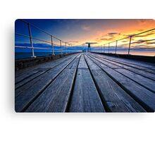 Dawn on Whitby Pier Canvas Print