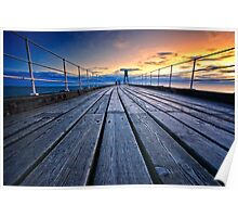 Dawn on Whitby Pier Poster