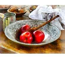 Apples in a Silver Bowl Photographic Print