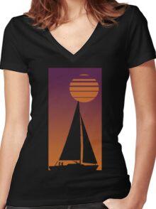 Sailboat Sunrise Women's Fitted V-Neck T-Shirt