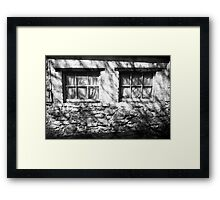 The Witches Window under the Cold Fingers of Shadows BW Framed Print