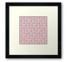 Trendy retro pink teal abstract floral pattern  Framed Print