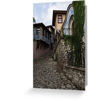 Steep and Twisting Cobblestone Street Greeting Card