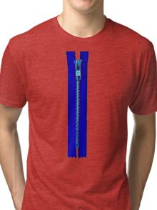 Blue zip Tri-blend T-Shirt