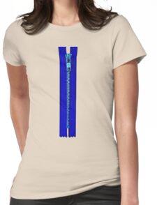 Blue zip Womens Fitted T-Shirt