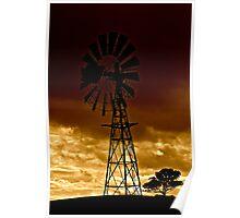 Windmill on Dusk Poster