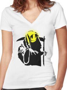 banksy - grin reaper 2 Women's Fitted V-Neck T-Shirt
