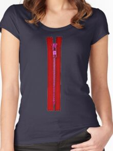 Red zip Women's Fitted Scoop T-Shirt