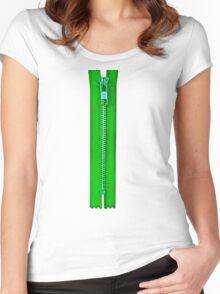 Green zip Women's Fitted Scoop T-Shirt