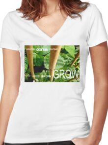 OXFAM GROW comp' with example logo, link to final piece & no logo submitted to comp in notes ! please see both*as plain submit Women's Fitted V-Neck T-Shirt