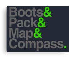 Boots & Pack & Map & Compass. Canvas Print