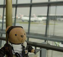 Pilot bear at Heathrow airport. by sandyprints